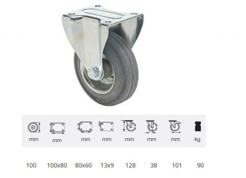 FPSG 1001 2000 L, Fix kerék, szürke (nyommentes) gumi futófelület, 100 mm, 90 kg teherbírás, talpas felfogatás