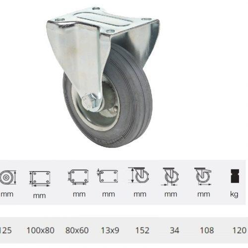 FPSG 1251 2000 L, Fix kerék, szürke (nyommentes) gumi futófelület, 125 mm, 120 kg teherbírás, talpas felfogatás
