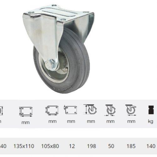 FPSG 1603 2000 W, Fix kerék, szürke (nyommentes) gumi futófelület, 160 mm, 160 kg teherbírás, talpas felfogatás