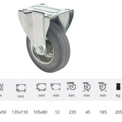 FPSG 2003 2000 W, Fix kerék, szürke (nyommentes) gumi futófelület, 200 mm, 205 kg teherbírás, talpas felfogatás