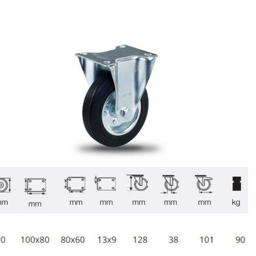FPSM 1001 2000 L, Fix kerék, fekete gumi futófelület, 100 mm, 90 kg teherbírás, talpas felfogatás