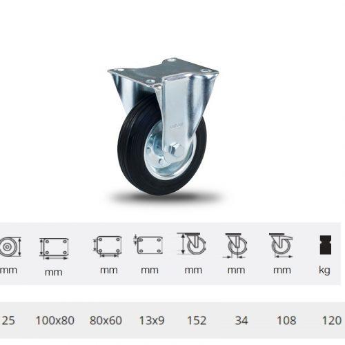 FPSM 1251 2000 L, Fix kerék, fekete gumi futófelület, 125 mm, 120 kg teherbírás, talpas felfogatás