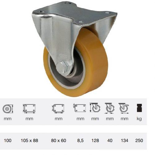 FTAU 1002 6150, Fix kerék, Poluretán futófelülettel, horganyzott villába szerelve, 100 mm, 200 kg teherbírás, talpas felfogatás