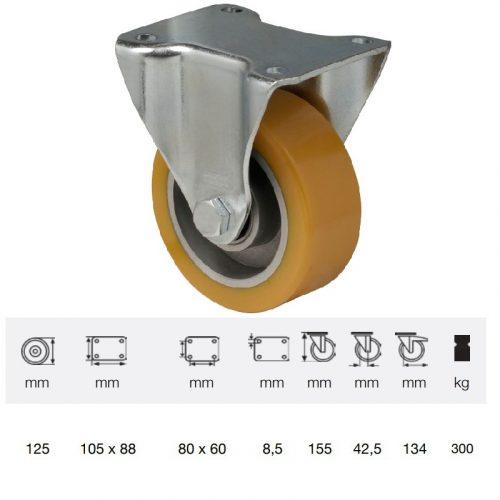 FTAU 1252 6150, Fix kerék, Poluretán futófelülettel, horganyzott villába szerelve, 125 mm, 250 kg teherbírás, talpas felfogatás