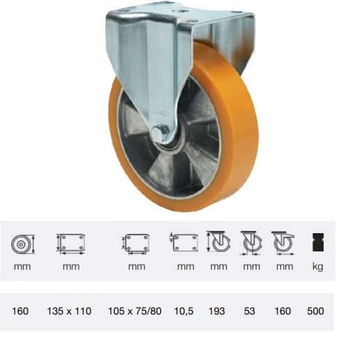 FTAU 1603 6440, Fix kerék, Poluretán futófelülettel, horganyzott villába szerelve, 160 mm, 500 kg teherbírás, talpas felfogatás
