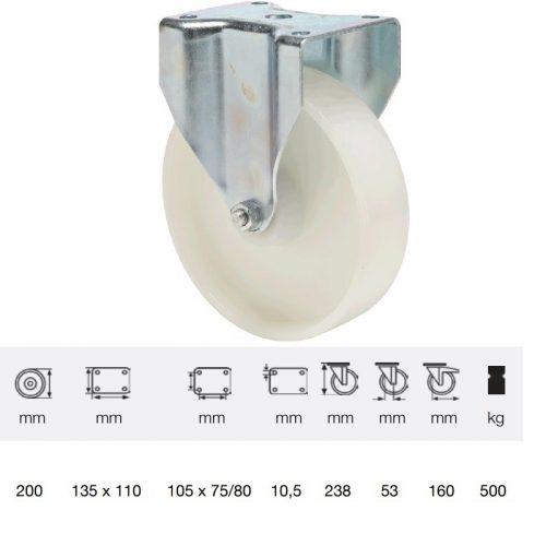 FTPN 1603 6100, Fix kerék, (poliamid) műanyag futófelület, horganyzott villába szerelve, 160 mm, 500 kg teherbírás, talpas felfogatás
