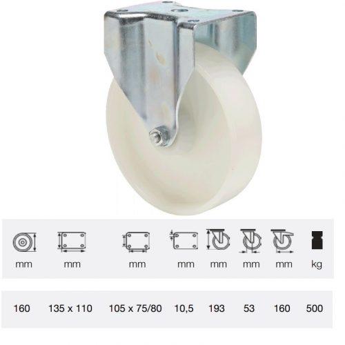 FTPN 2003 6100, Fix kerék, (poliamid) műanyag futófelület, horganyzott villába szerelve, 200 mm, 500 kg teherbírás, talpas felfogatás