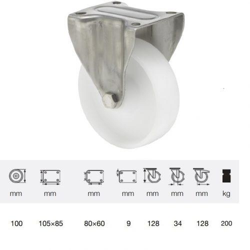 FXPN 1001 1100, Fix kerék, (poliamid) műanyag futófelület, rozsdamentes villába szerelve, 100 mm, 200 kg teherbírás, talpas felfogatás