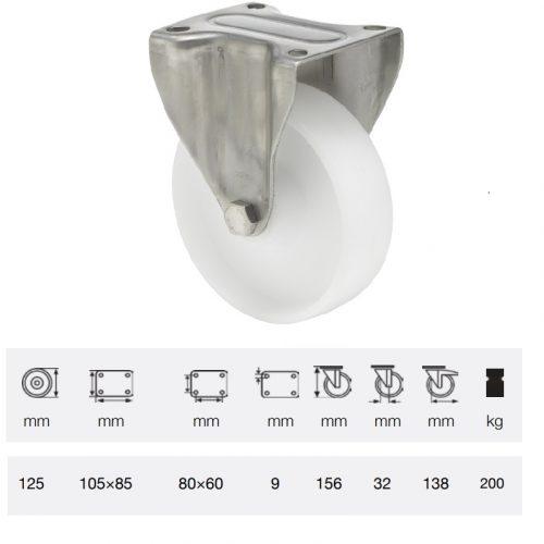FXPN 1251 1100, Fix kerék, (poliamid) műanyag futófelület, rozsdamentes villába szerelve, 125 mm, 200 kg teherbírás, talpas felfogatás
