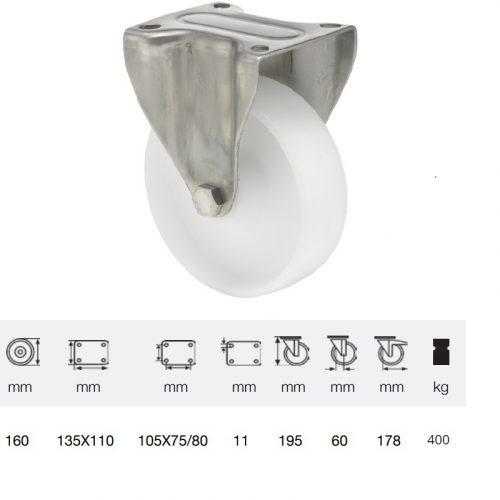 FXPN 1601 1100, Fix kerék, (poliamid) műanyag futófelület, rozsdamentes villába szerelve, 160 mm, 400 kg teherbírás, talpas felfogatás