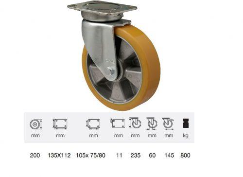 JBAU 2003 6440, Nagy teherbírású forgó kerék, poliuretán futófelület, horganyzott villába szerelve, 200 mm, 800 kg teherbírás,