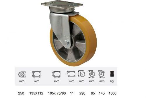 JBAU 2503 6550, Nagy teherbírású fix kerék, poliuretán futófelület, horganyzott villába szerelve, 250 mm, 1000 kg teherbírás,