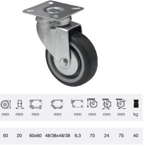 JDPE 0501 1001, Forgó kerék, 50 mm, 40 kg teherbírás, talpas felfogatás
