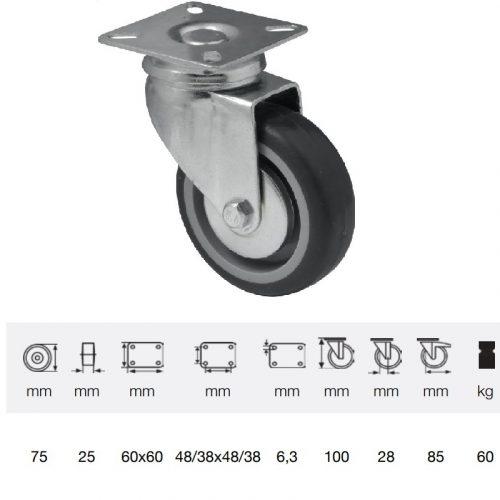 JDPE 0751 1001, Forgó kerék, 75 mm, 60 kg teherbírás, talpas felfogatás
