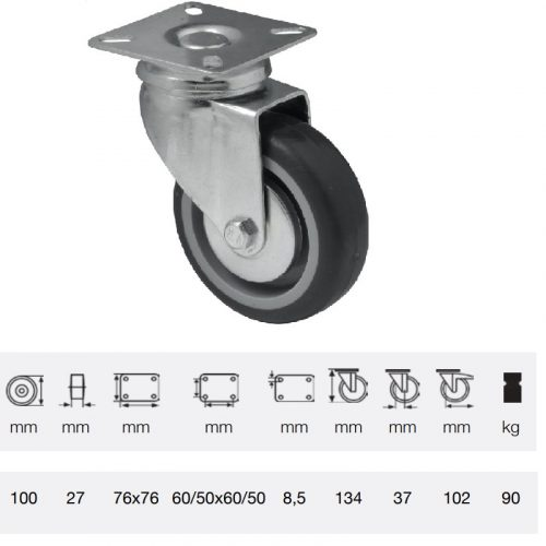 JDPE 1001 1001, Forgó kerék, 100 mm, 90 kg teherbírás, talpas felfogatás