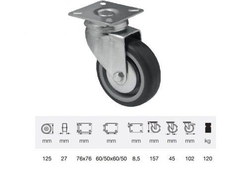 JDPE 1251 1001, Forgó kerék, 125 mm, 120 kg teherbírás, talpas felfogatás