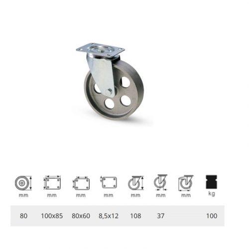 JLCN 0802 1000, Forgó kerék, horganyzott villába szerelve, Öntöttvas kerék, magas hőállósággal, 80 mm, 100 kg teherbírás, +500 Celsius