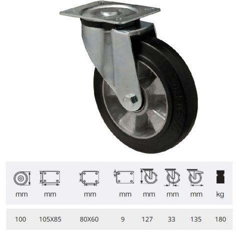 JPAB 1001 6150, Forgó kerék, horganyzott villába szerelve, fekete tömörgumi futófelülettel, 100 mm, 180 kg, talpas felfogatás