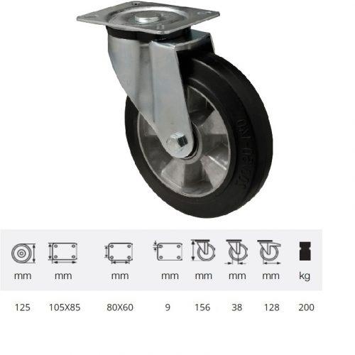 JPAB 1251 6150, Forgó kerék, horganyzott villába szerelve, fekete tömörgumi futófelülettel, 125 mm, 200 kg, talpas felfogatás