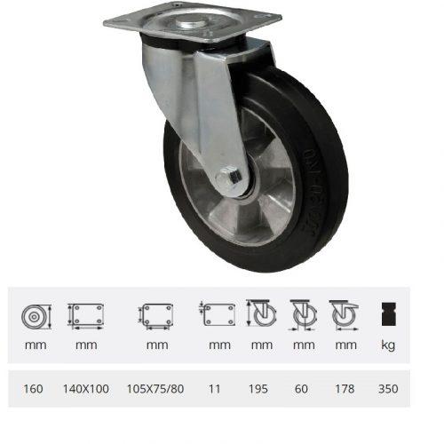 JPAB 1603 6150, Forgó kerék, horganyzott villába szerelve, fekete tömörgumi futófelülettel, 160 mm, 350 kg, talpas felfogatás