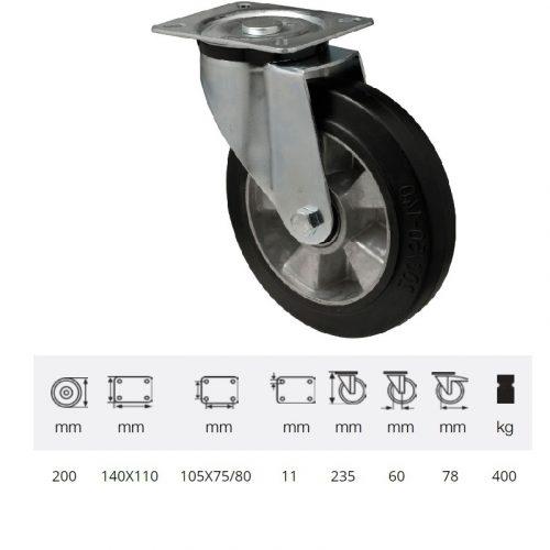 JPAB 2003 6150, Forgó kerék, horganyzott villába szerelve, fekete tömörgumi futófelülettel, 200 mm, 400 kg, talpas felfogatás