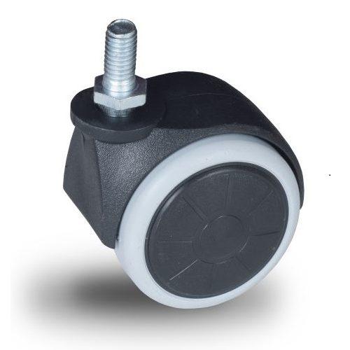 JPG 050 M10x15 Forgó kerék, padlókímélő gumis futófelület, 50 mm, 40 kg teherbírás, M10x15 menetes szárral