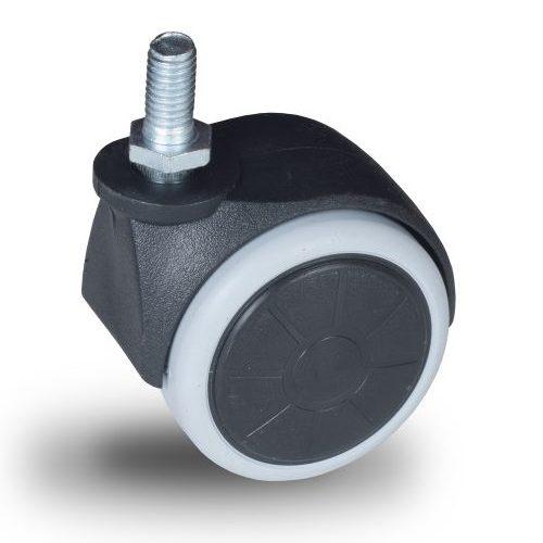 JPG 050 M8x15 Forgó kerék, padlókímélő gumis futófelület, 50 mm, 40 kg teherbírás, M8x15 menetes szárral