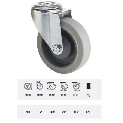 JPPF 0805 5100, Forgó kerék, horganyzott villába szerelve, prémium PERFORMA tömörgumi futófelület, 80 mm, 150 kg teherbírás, furatos felfogatás