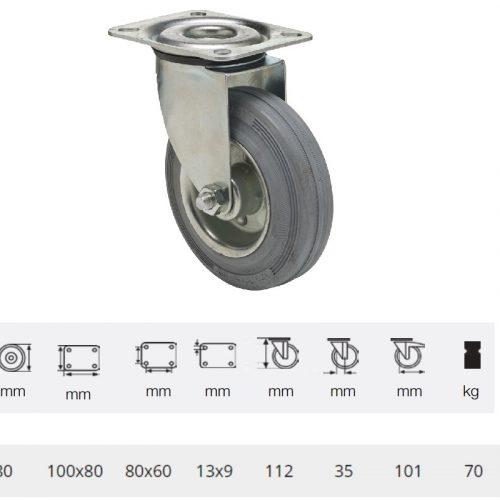 JPSG 0801 2100 L, Forgó kerék, szürke (nyommentes) gumi futófelület, 80 mm, 70 kg teherbírás, talpas felfogatás