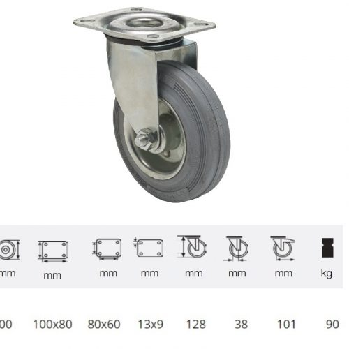 JPSG 1001 2100 L, Forgó kerék, szürke (nyommentes) gumi futófelület, 100 mm, 90 kg teherbírás, talpas felfogatás