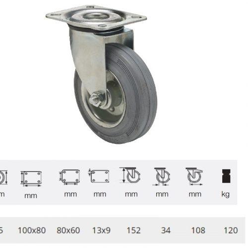JPSG 1251 2100 L, Forgó kerék, szürke (nyommentes) gumi futófelület, 125 mm, 120 kg teherbírás, talpas felfogatás