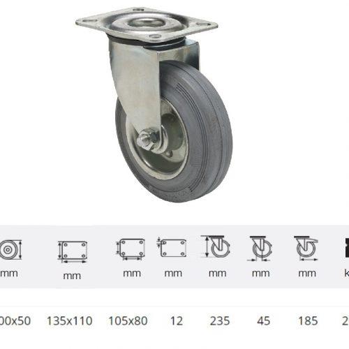JPSG 2003 2100 W, Forgó kerék, szürke (nyommentes) gumi futófelület, 200 mm, 205 kg teherbírás, talpas felfogatás