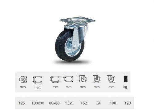 JPSM 1251 2100 L, Forgó kerék, fekete gumi futófelület, 125 mm, 120 kg teherbírás, talpas felfogatás