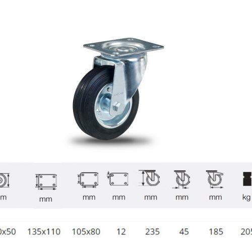 JPSM 2003 2100 W, Forgó kerék, fekete gumi futófelület, 200 mm, 205 kg teherbírás, talpas felfogatás