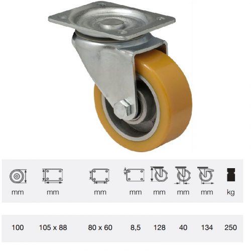 JTAU 1002 6150, Forgó kerék, Poluretán futófelülettel, horganyzott villába szerelve, 100 mm, 200 kg teherbírás, talpas felfogatás