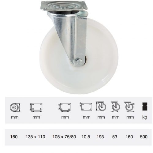 JTPN 1603 6100, Forgó kerék, (poliamid) műanyag futófelület, horganyzott villába szerelve, 160 mm, 500 kg teherbírás, talpas felfogatás