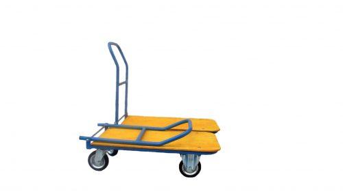 KK03, Áruszállító kézikocsi rakodó résszel, Rakfelület: 850x450 mm, Lehajtható karral, Teherbírás: 250 kg.