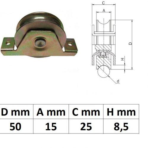 STTKG50U, Süllyesztett talpas tolókapu görgő U profil, 50 mm
