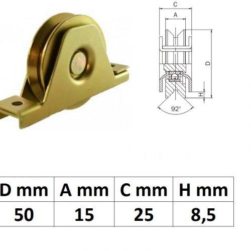 STTKG50Y, Süllyesztett talpas tolókapu görgő Y profil, 50 mm