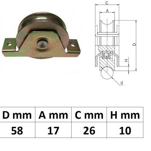 STTKG60U, Süllyesztett talpas tolókapu görgő U profil, 60 mm