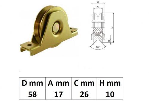 STTKG60Y, Süllyesztett talpas tolókapu görgő Y profil, 60 mm