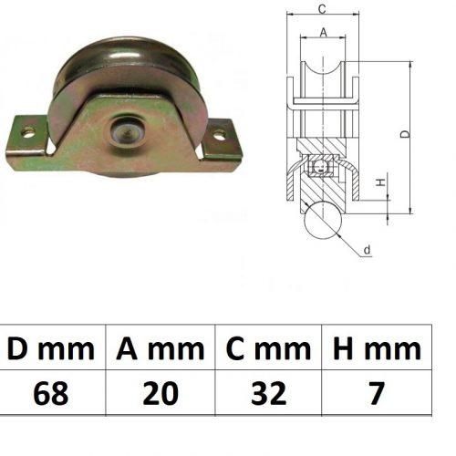 STTKG70U, Süllyesztett talpas tolókapu görgő U profil, 70 mm
