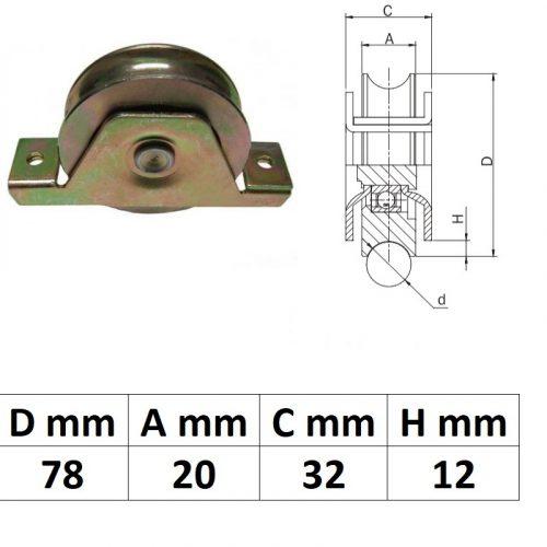 STTKG80U, Süllyesztett talpas tolókapu görgő U profil, 80 mm