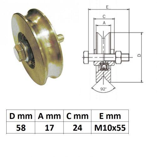 SZKKG60U, Tolókapu görgő U profil, 60 mm