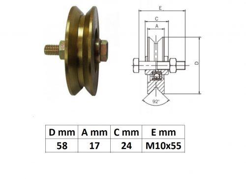 SZKKG60Y, Tolókapu görgő Y profil, 60 mm