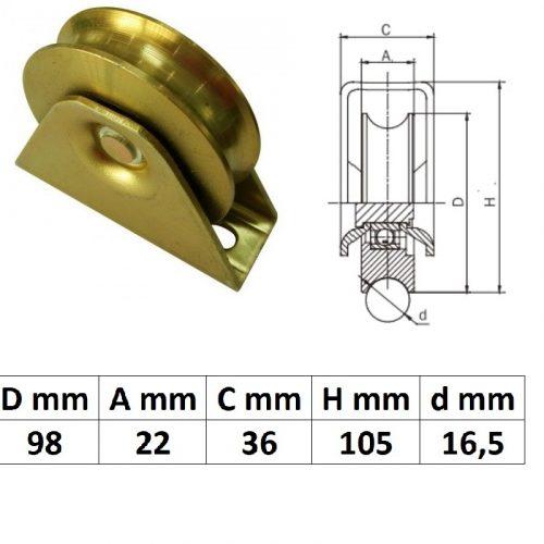 TTKG100U, Talpas tolókapu görgő U profil, 100 mm