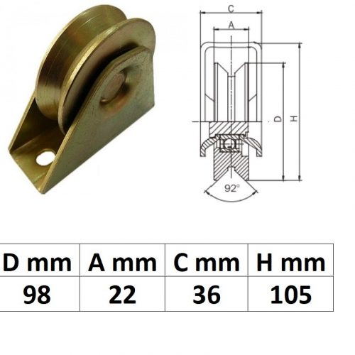 TTKG100Y, Talpas tolókapu görgő Y profil, 100 mm