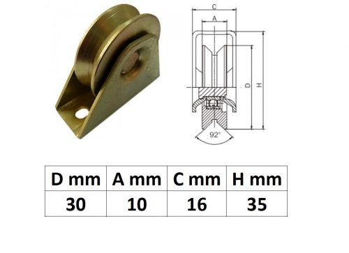 TTKG30Y, Talpas tolókapu görgő Y profil, 30 mm