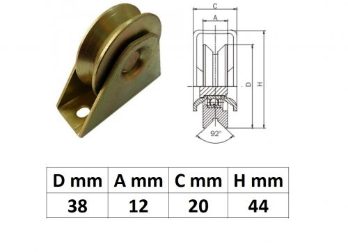 TTKG40Y, Talpas tolókapu görgő Y profil, 40 mm