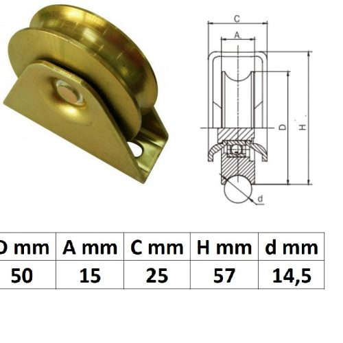 TTKG50U, Talpas tolókapu görgő U profil, 50 mm